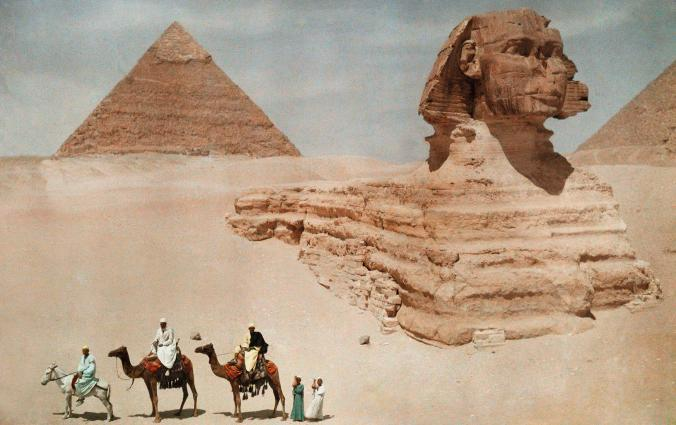 This 1925 photo shows the Sphinx of Giza before it was fully excavated. After it was uncovered,