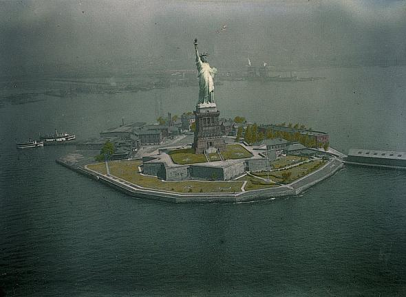 This photo of the Statue of Liberty appeared in a 1930 National Geographic article that featured the first successful aerial color photos.