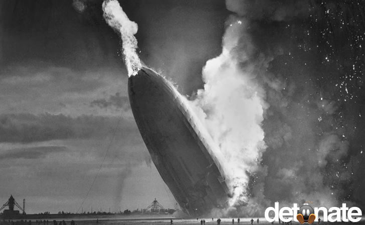 The Hindenburg disaster in 1937,