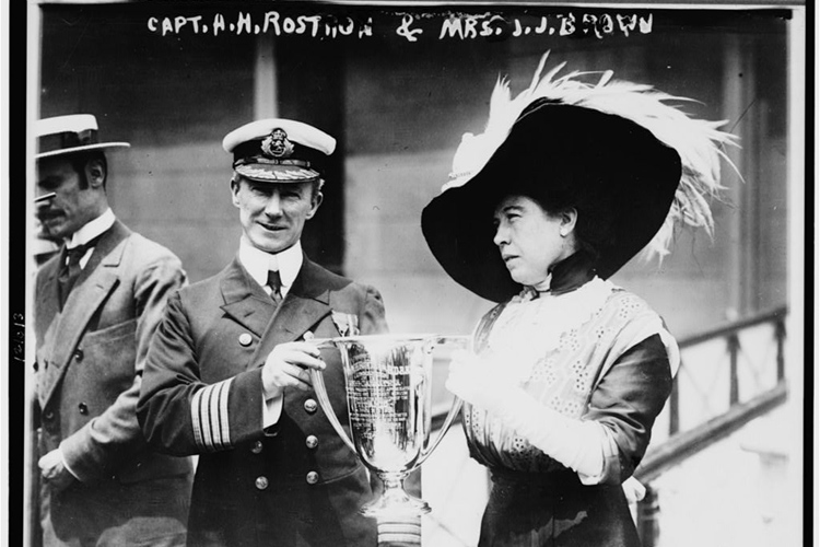mrs-j-j-brown-the-unsinkable-molly-brown-presenting-a-trophy-cup-award-to-carpathia-captain-arthur-henry-roston